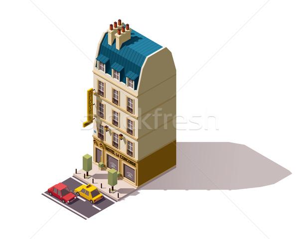 Stock fotó: Vektor · izometrikus · Párizs · épület · hotel · város