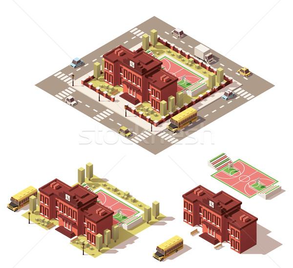 Vector isometric low poly school building icon Stock photo © tele52