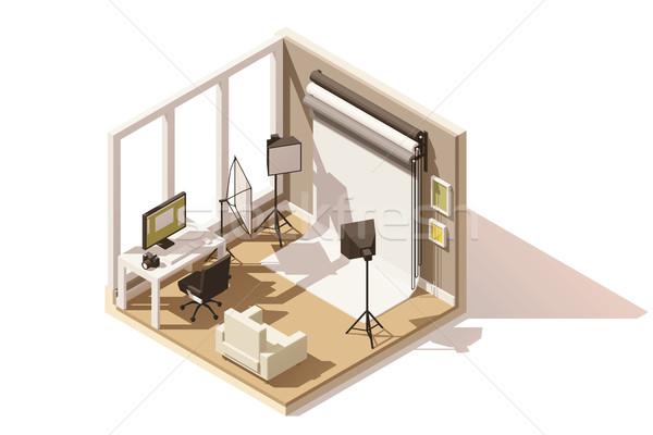 Vektor izometrikus alacsony fotó stúdió szoba Stock fotó © tele52