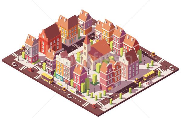 Stockfoto: Vector · laag · isometrische · oude · stad · centrum