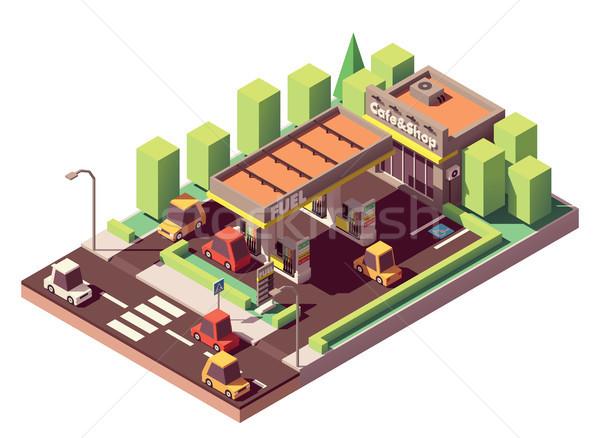Vector isometric gas station Stock photo © tele52