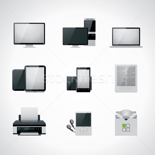 Vector computer icon set Stock photo © tele52