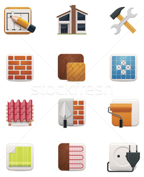 House renovation icon set. Part 1 Stock photo © tele52