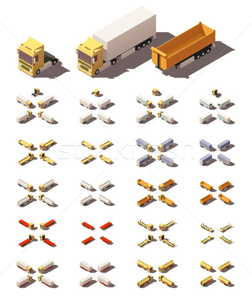 Vector isometric trucks with semi-trailers icon set Stock photo © tele52