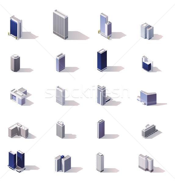Stockfoto: Vector · isometrische · stad · gebouwen · laag
