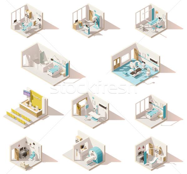 Vektor izometrikus alacsony kórház szobák szett Stock fotó © tele52