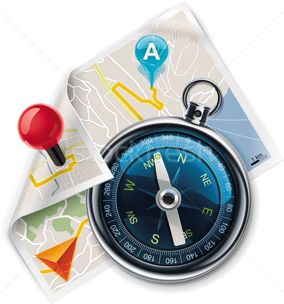 Stock photo: Vector navigation / route map XXL detailed icon