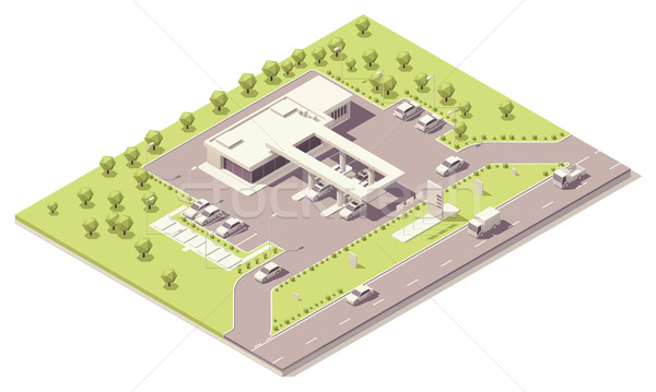 Isometric filling station building Stock photo © tele52