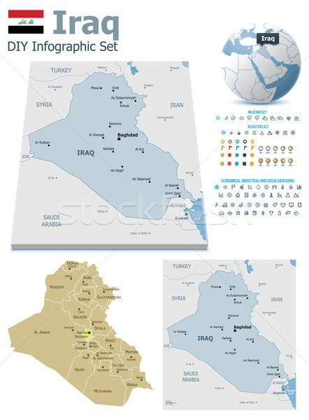 イラク マップ セット 政治的 シンボル インフォグラフィック ストックフォト © tele52