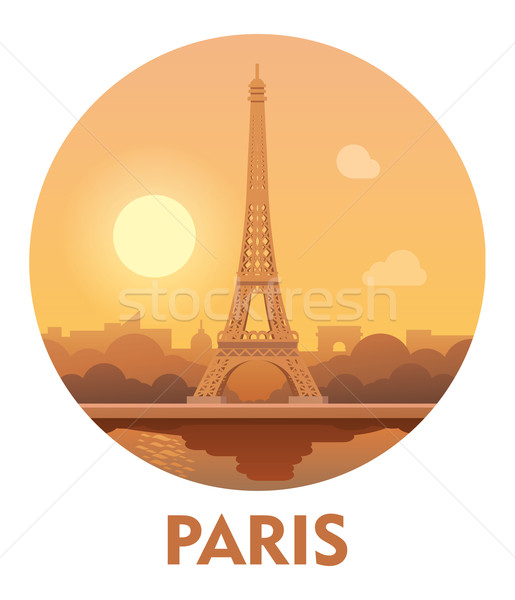 Travel destination Paris icon  Stock photo © tele52
