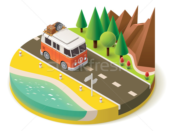 Vector isometric camper travel icon 2 Stock photo © tele52