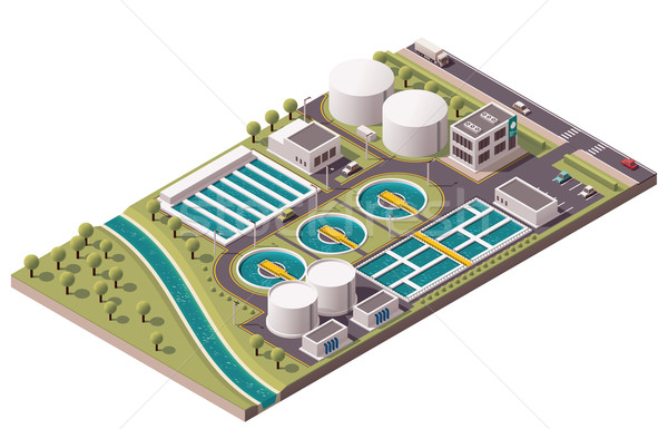Vector isometric water treatment plant Stock photo © tele52