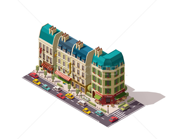 Vektor izometrikus Párizs utca éttermek üzletek Stock fotó © tele52