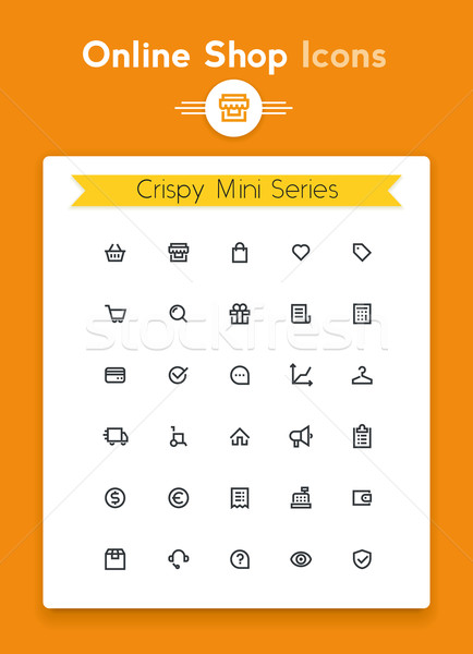 Vector line online web shop and retail tiny icon set. Minimalistic crisp contour icons for the best  Stock photo © tele52
