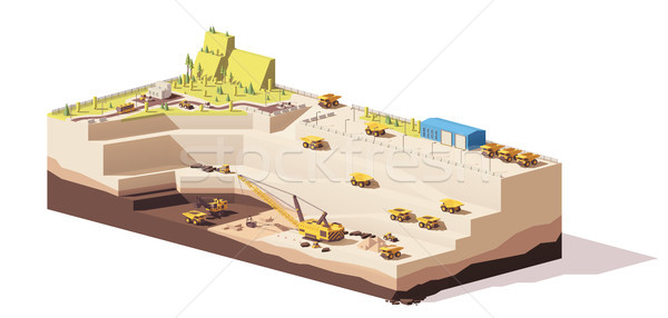 Vector low poly open pit coal mine Stock photo © tele52