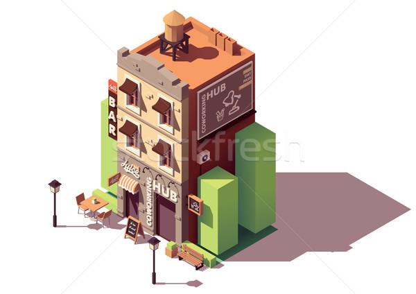 Vector isometric coworking building Stock photo © tele52