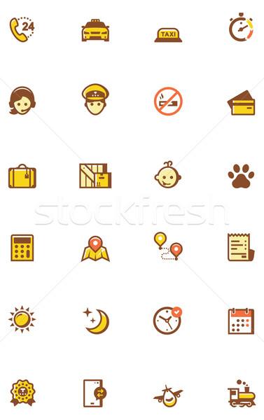 Taxi icon set Stock photo © tele52