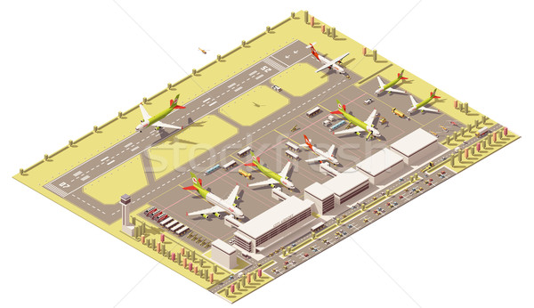 Vector isometric low poly airport terminal building, landing jet and airplanes at apron Stock photo © tele52