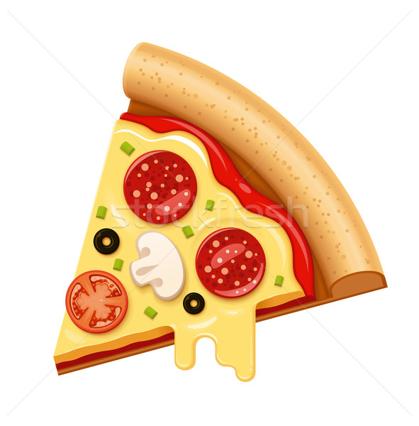 Vector hot pizza slice kaas salami icon Stockfoto © tele52