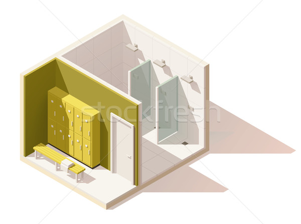 Vector isometric low poly gym locker room icon Stock photo © tele52