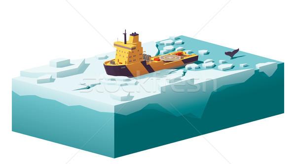 Stockfoto: Vector · laag · ijs · oceaan · kaart · zee