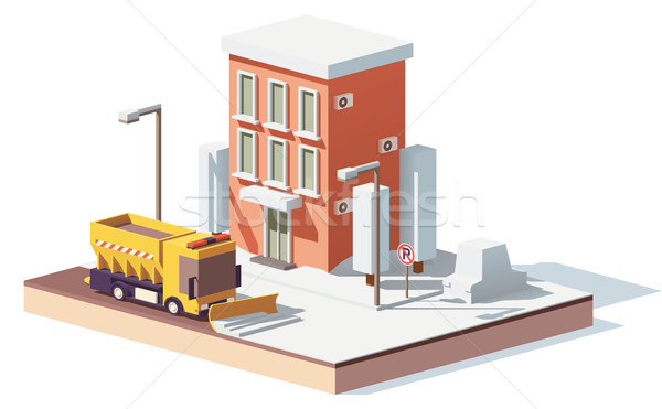 Vector low poly snowplows working in the city Stock photo © tele52