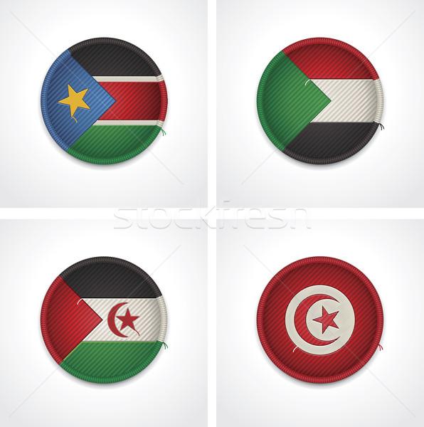 Flagi kraje tkaniny odznaki zestaw szczegółowy Zdjęcia stock © tele52