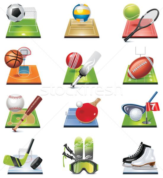 Vetor esportes conjunto ícones futebol Foto stock © tele52