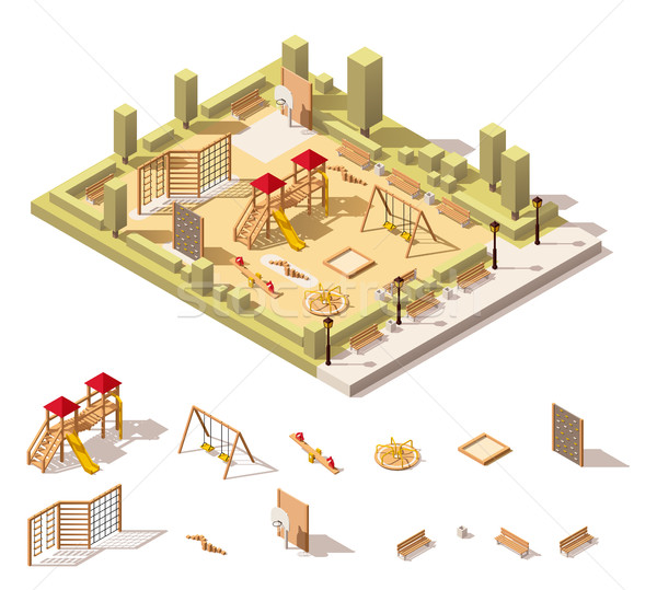 Vector isometric low poly playground icon Stock photo © tele52
