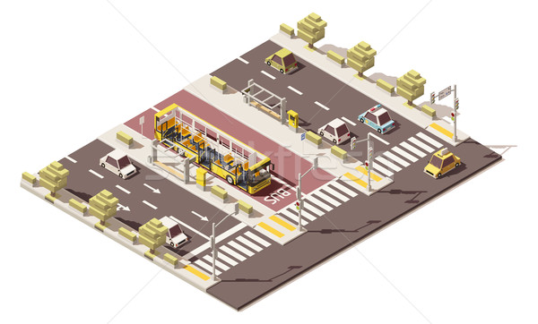 Vector isometric low poly dedicated bus lane Stock photo © tele52