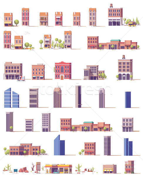 Vector low poly buildings set Stock photo © tele52