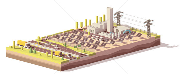 Vector low poly solar power plant infrastructure Stock photo © tele52