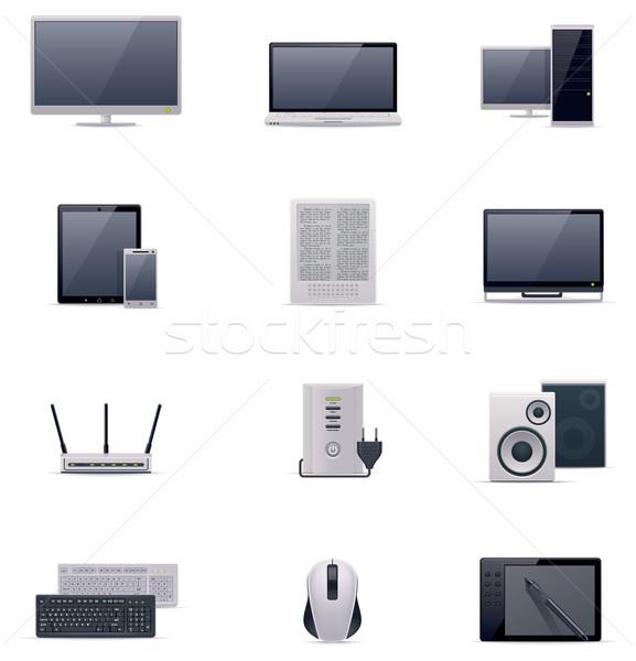 Vektor számítógép ikon szett számítógép laptop technológia Stock fotó © tele52