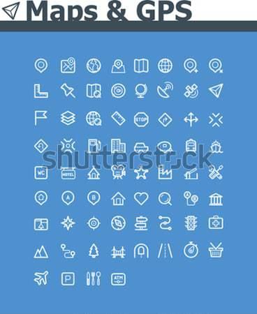 Maps and navigation icon set Stock photo © tele52