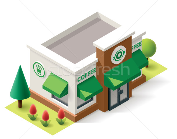 вектора изометрический кофейня здании икона служба Сток-фото © tele52