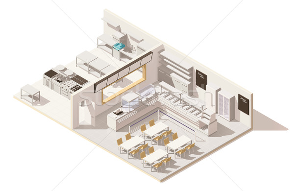 Vektor izometrikus alacsony étterem konyha szolgáltatás Stock fotó © tele52