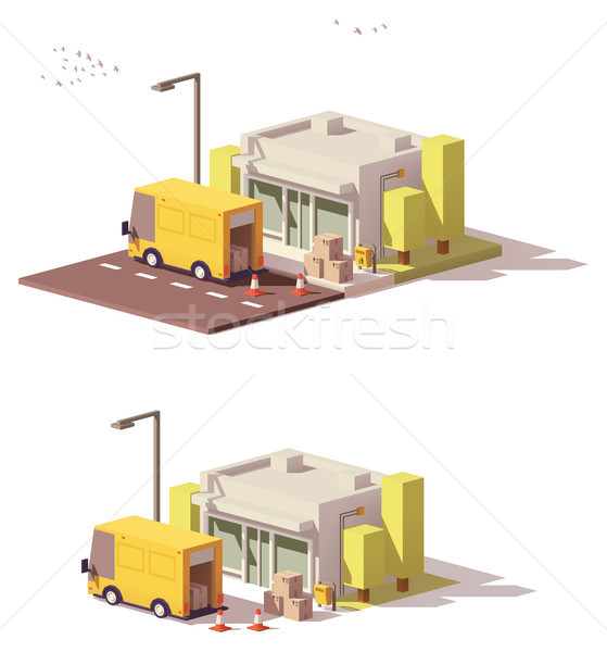 Vector low poly shop icon Stock photo © tele52