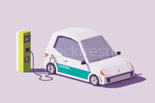 Vecteur faible voiture électrique électriques véhicule câble Photo stock © tele52