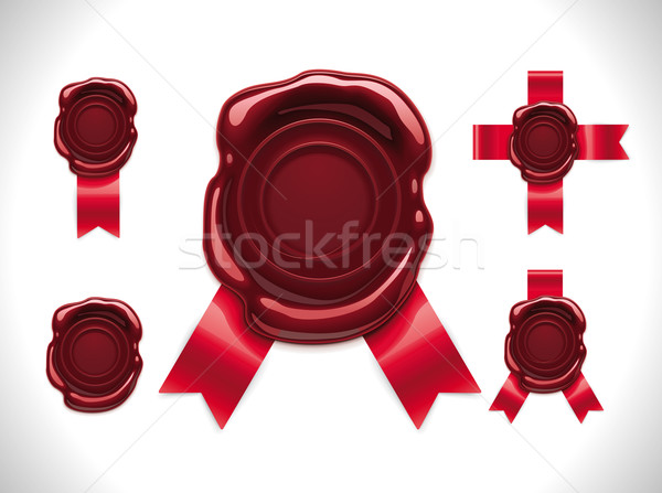 Vector wax seal with ribbons Stock photo © tele52