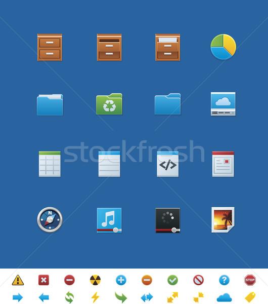 Vettore sito icone set luminoso semplice Foto d'archivio © tele52