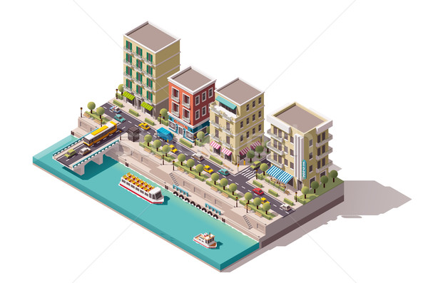 Vector isometric town street Stock photo © tele52