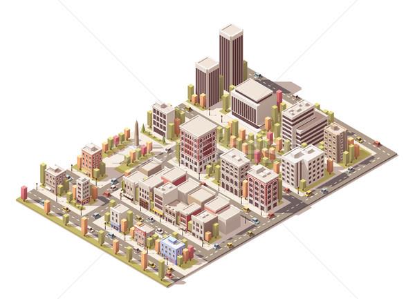 Stok fotoğraf: Vektör · izometrik · şehir · sokaklarda · farklı · binalar