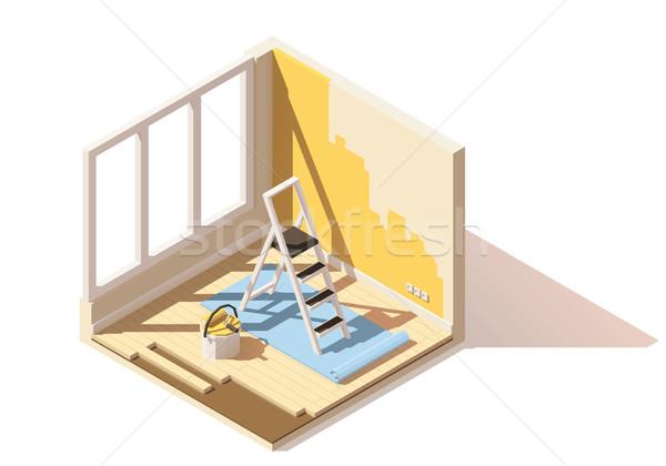Vector isometric low poly home renovation icon Stock photo © tele52