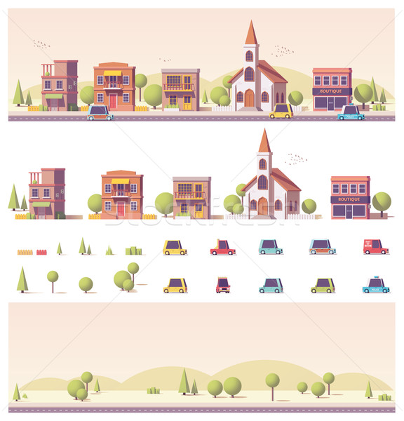 Vector low poly 2d buildings and city scene Stock photo © tele52