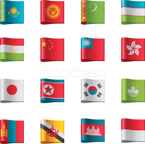 Vector flags. Asia, part 6 Stock photo © tele52