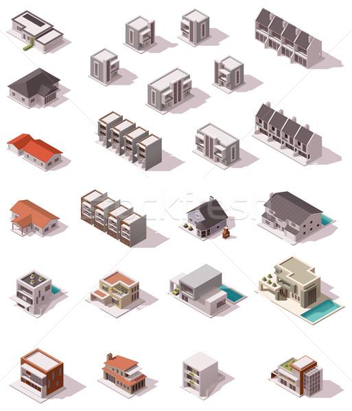 вектора изометрический зданий набор домах Сток-фото © tele52