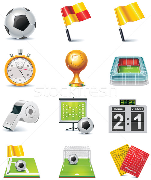Vector soccer icon set Stock photo © tele52