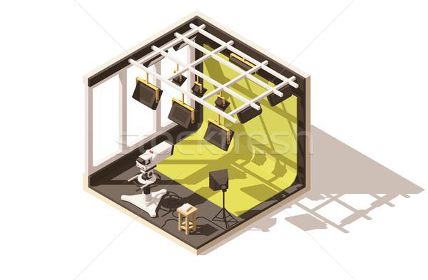 Vector isometric low poly television studio Stock photo © tele52