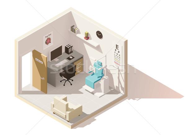 Vektor izometrikus alacsony szemorvos iroda zsakett Stock fotó © tele52