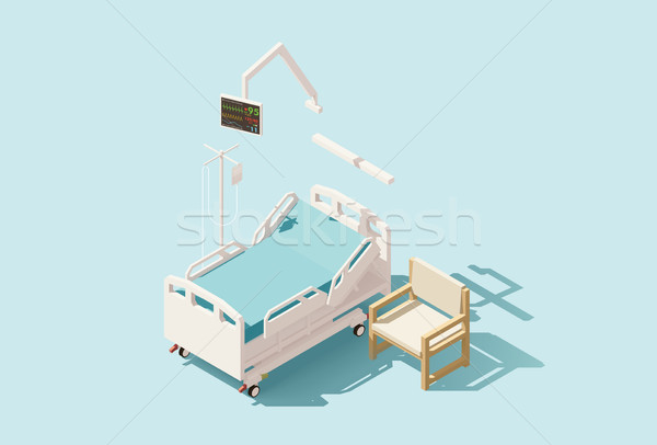 Vector isometric low poly hospital bed Stock photo © tele52